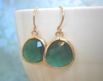 Emerald Earrings,  Gold Earrings, Green Earrings, Wife, Sister, Girlfriend, Mom, Best Friend, Bridesmaid