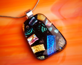 Handmade Dichroic Fused Glass Necklace ...with chain/box/card...