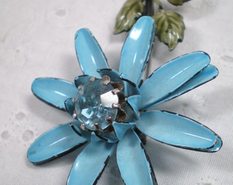 Blue Flower Pin by Francois / Vintage Francois brooch with blue rhinestone / Daisy / Spring / wedding / something Blue