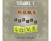 Scrabble Alphabet SVG Designs - Ai Svg Eps Gsd - Scrabble Letter Vector Designs - Scrabble Monogram Letters - Scrabble Font for Cricut
