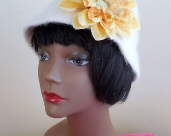 Off White Angora Hat with detachable flower Clip