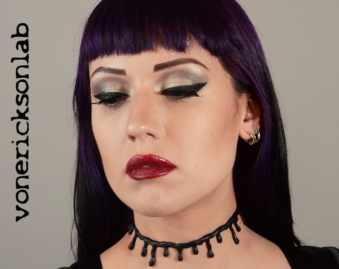 Zombie  Jewelry - All Black with small drips choker necklace