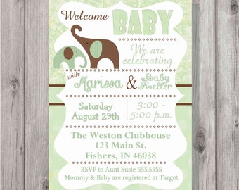 Digital Classic Shabby Chic Neutral Baby Shower Invitation DIY Printable in Green