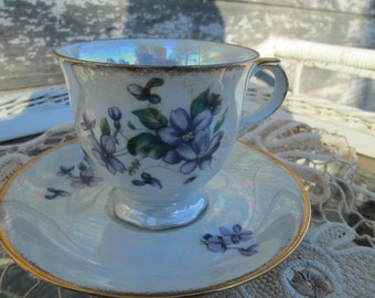 Vintage Teacup Tea Cup and Saucer Lusterware Violet flower