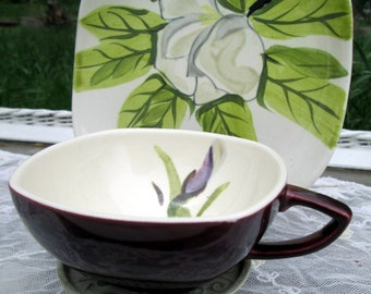 Vintage Teacup Tea Cup and Saucer  Magonolia flower Hand Painted Redwing Pottery