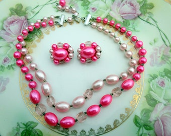 Vintage Multi Strand Beaded Necklace with Cluster earrings Glass beads pearls Hot Pink