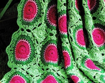 INSTANT DOWNLOAD PDF Vintage Crochet Pattern  for Summer Watermelon Afghan Throw Granny Squares Blanket  Retro