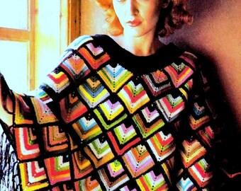 INSTANT DOWNLOAD PDF Vintage Crochet Pattern   Harlequin Granny Square  Poncho Retro 1970s Wrap Cape Cloak