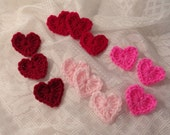Twelve Crochet Mini Hearts appliques or decorations