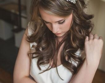 Bridal headband, Bridal Headpiece, Bridal hairbandhair comb, hair accessories, silver leaf vintage wedding, wedding hairpiece