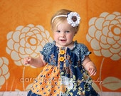 Girl's Fall Dress- September Blue Peasant Dress-Last one- size 7/8 RTS