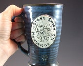 Small Wheel Thrown Great Smoky Mountain National Park Bear Cub Mug in Croc Blue Glaze