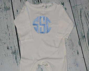 Personalized Infant Sleeper Romper Monogrammed Coming Home Outfit