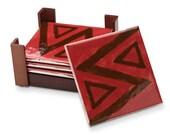 Red Zig Zag Coaster Set