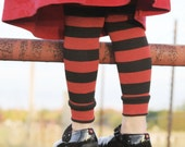 Baby Toddler Leg Warmers Black and Red Striped