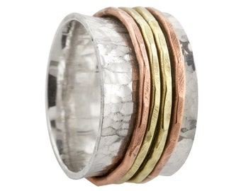 Wide TriColor Spin Ring in Sterling Silver with Brass and Copper Spinners // Made to order in your size