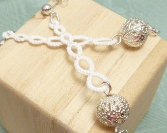 Tatted Lace Earrings Modern jewelry -Strand in white with filigree balls
