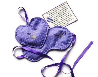 Lavender Eye Mask and Sachet with Flax  - Aroma, Heat, Cold Therapy
