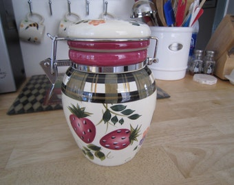 Oneida Strawberry Plaid Storage Canister