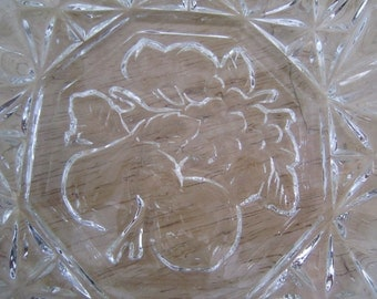 Pressed Clear Glass Fruit Embossed Bowl