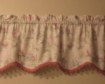 ABC Over the Moon Toile Baby Nursery Window Valance - Scalloped Hem