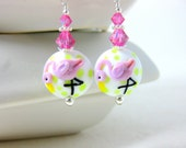 Pink Flamingo Earrings, Bird Earrings, Tropical Earrings, Fun Earrings, Lampwork Earrings, Beach Earrings, Animal Earrings, Summer Earrings