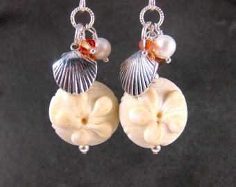 Sand Dollar Earrings, Beach Earrings, Seashell Earrings, Ivory Sea Shell Earrings, Lampwork Earrings, Ocean Earrings - Sand Dollars