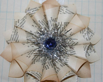 Small Paper Cone Holiday w/Vintage Dark Blue Mercury Glass Bead Ornament