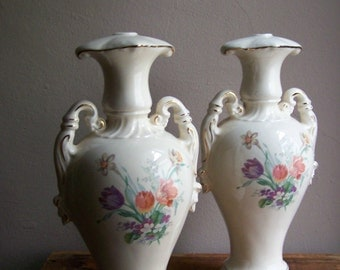 Vintage Ceramic Lamp Bases ~ Cream with Colorful Spring Bouquets