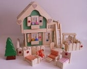 Wooden Doll House, Deluxe Unisex Gender Neutral Dollhouse, Handmade Wood Toy Furniture, Waldorf, Kids Easter gift, Jacobs Wooden Toys