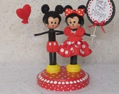Minnie and Mickey Mouse Clothespin Doll Cake Topper