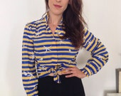 Vintage 1980s blue and yellow stripey shirt - small - medium - S - M