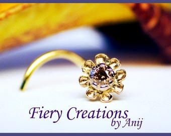"""Nose Screw / Tragus stud """"A Flower for Rosie"""" - 18k SOLID Yellow Gold flower with a white gold bezel a 4pt luscious Chocolate Diamond, OOAK"""
