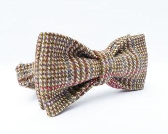Mens Bow Tie - Plaid Wool Tweed - Light Beige, Brown, Red and Blue