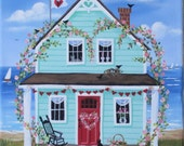 Hearts and Flowers Cottage Folk Art Print