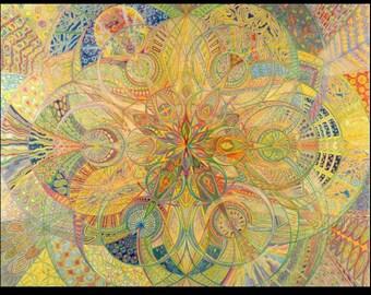 Sacred Geometry Fine Art Print Mandala Spiritual Art Colored Pencil Art Psychedelic Art