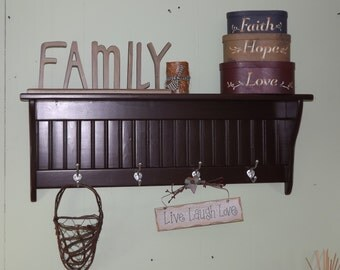 Country Coat Rack Wood Wall shelf 36 Inches Espresso Wall Display