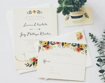 Rustic Antler + Floral Wedding Invitation Suite
