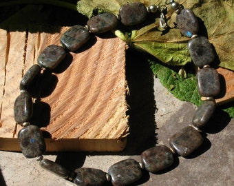 ON SALE!~Chunky Labradorite Necklace with Silver Accents and Spring Clasp