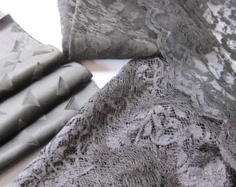 Lot black LACE pieces plus antique ribbon, goth clothing, steampunk costume, vintage dressmaking , antique trim