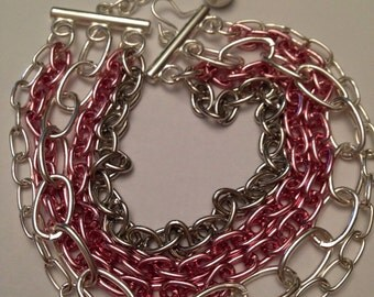 Multistrand silver and chain plus size cuff bracelet