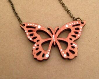 Laser Cut Wood Necklace - Butterfly Swirl