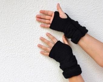 Black Gloves Knit Fingerless Gloves Wrist Warmers Mittens Warm Cozy Women Gloves Women Accessories