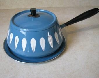 Cathrineholm Aqua Blue Lotus Fondue Pot Sauce Pan with Under Plate