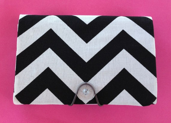 Coupon Organizer / holder /  keeper / carrier - Chevron Black - Zig Zag - geometric