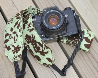 Ready to ship monograming not available Camera Strap for DSL Camera Sage Green and Brown Floral Print