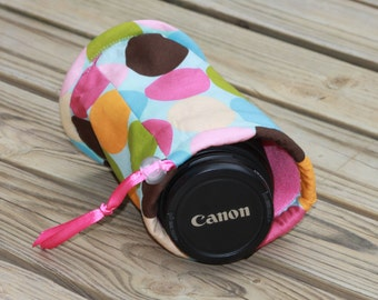 Ready to ship Monograming is not available Camera lens case for DSL camera Blue Multi Polka Dot