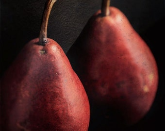 "Dark fruit photography still life food rustic red burgundy kitchen decor autumn - ""Pears"" 8 x 10"