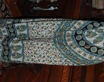 """Hippie Pants -  Paisley Turquoise #394 - 40"""" long - Hips 48"""" - read measurements"""