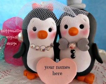 Penguins in love wedding cake topper Bride with Birdcage Bridal Veil Uniquely Handmade